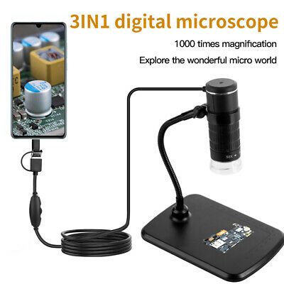 Usb Digital Microscope Endoscope 1000x 8led 2mp Zoom Camera Magnifier With Stand