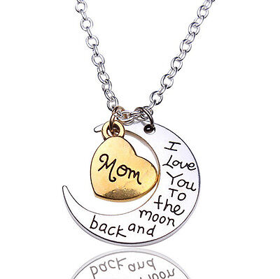 Mom  I Love You To The Moon And Back Necklace Heart Mother Mothers Day Gift