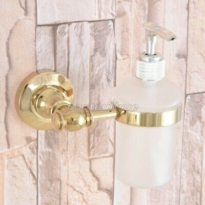 Gold Brass Wall Mount Bathroom Frosted Glass Pump Soap Dispenser Holder eba307