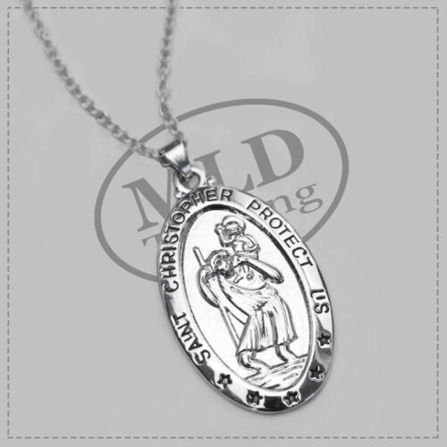 Saint St Christopher Medal Protect Us Oval Silver Plated Pendant Necklace