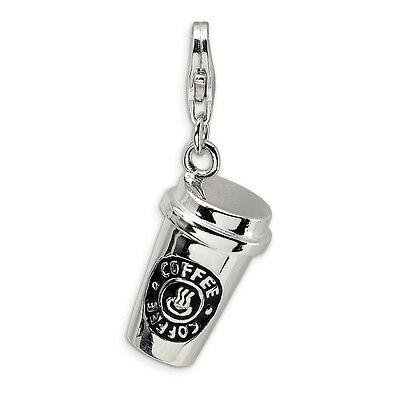 To Go Coffee Cup Charm .925 Sterling Silver 3D Enameled Click On Amore La Vita