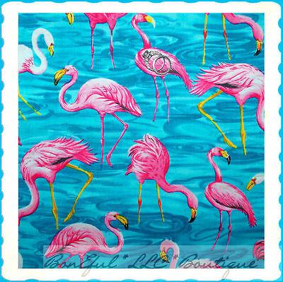 BonEful Fabric FQ Cotton Flamingo Bird Pink Florida Beach Aqua Blue Water Flower