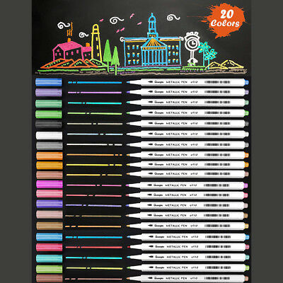 New 20-Pack Water-Based Metallic Permanent Markers 1mm Fine Tip Assorted Colors