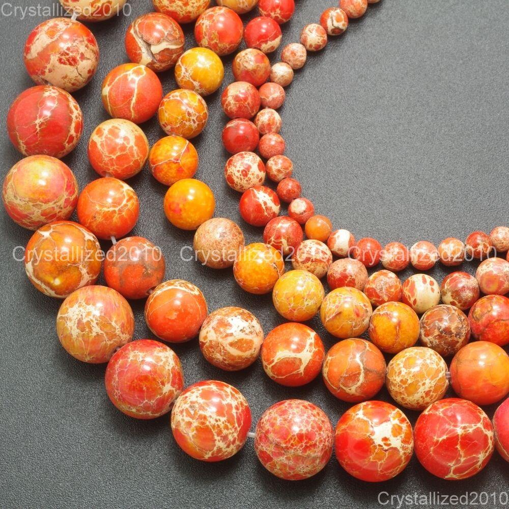 "Natural Sea Sediment Jasper Gemstone Round Ball Beads 6mm 8mm 10mm 12mm 15.5/"""