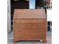 19th Century Solid Oak Bureau Writing Desk Over Four Drawers