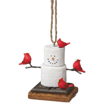 Smores Snowman with Cardinals Christmas Tree Ornament, by Midwest CBK