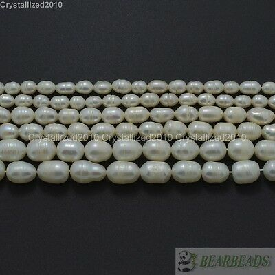 Natural Freshwater White Pearl Oval Rice Beads 4mm 6mm 7mm 8mm 9mm 10mm 11mm 15