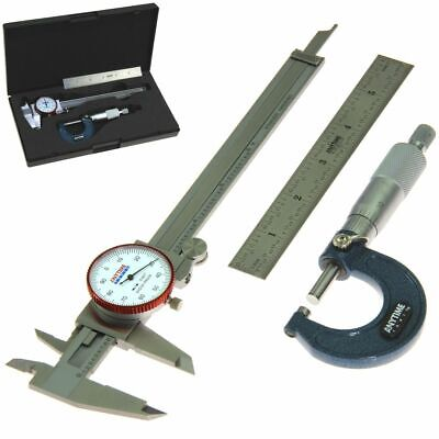 Dial Caliper Micrometer Ruler Machinist Mechanic Student Inspection Tool Set Kit