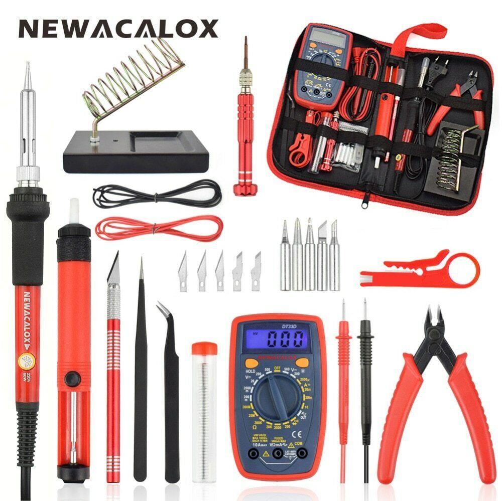 NEWACALOX 60W Electric Soldering Iron,Tweezers,Multimeter,We