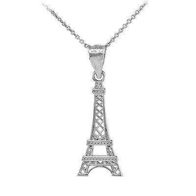 14k White Gold Eiffel Tower Statue Pendant Necklace France Souvenir 14k White Gold Statue