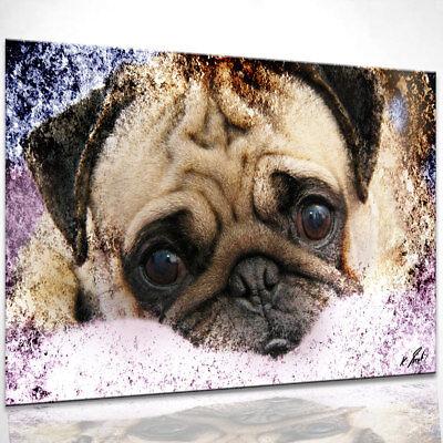 Hund Mops Welpen Bild auf Leinwand Abstrakte Bilder Wandbilder Kunstdruck D0523 ()