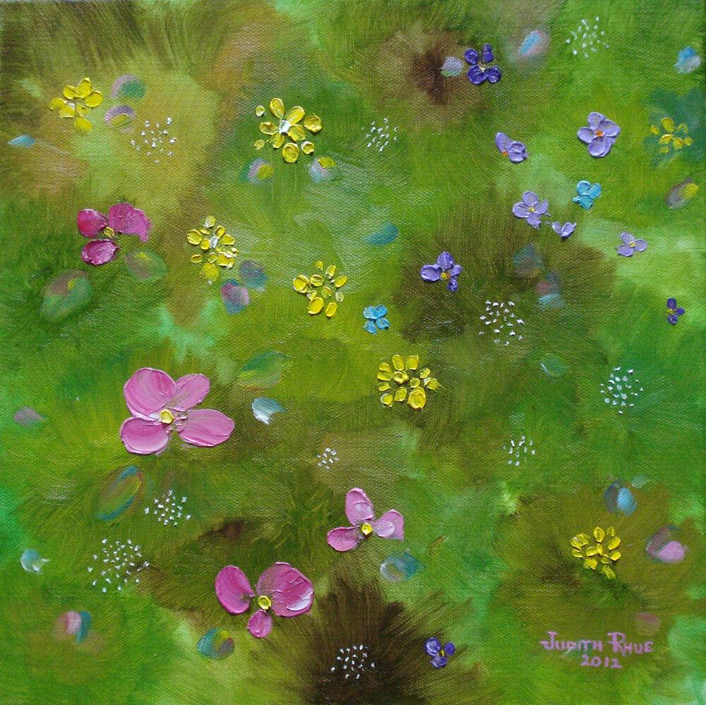 Original Oil Painting Landscape Flowers Colorful Unique Canvas Signed Wall Art - $100.00