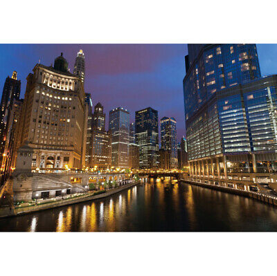 6x4ft Backdrop Chicago City Night Scene Skyscraper Background Studio Photo - City Scene Backdrop