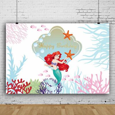 Vinyl Photography 7x5ft Background Studio Photo Props Backdrop Birthday Mermaid