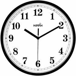 Coindivi Black Wall Clock, Silent Non-Ticking Quality Quartz Battery Operated Wa