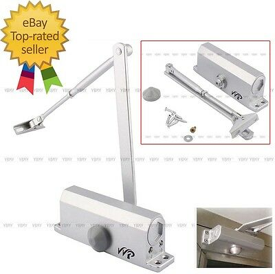 Us Stock 60-80 Kgs Commercial Door Closer Silver Aluminium Alloy Heavy Duty