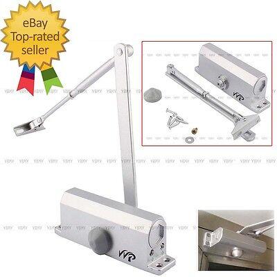 Us Stock 60-80 Kgs Commercial Door Closer Silver Aluminium Alloy Heavy Duty