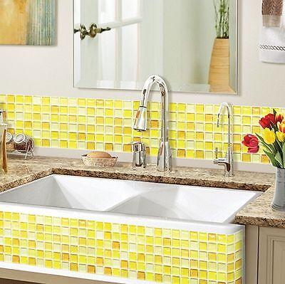 Home Bathroom Kitchen Wall Decor 3D Sticker Wallpaper Tile Y Blossom Backsplash