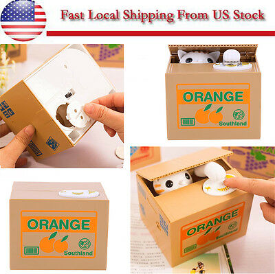 Cute Lovely Automated Stealing Coins Cat Saving Money Box Piggy Bank Best Gift