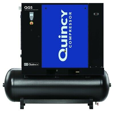 2021 Quincy Qgs-20 Rotary Screw Air Compressor 20 Hp W Dryer 120 Gallon Tank