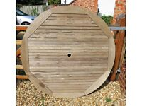 Round hardwood garden patio table top - TOP only . Approx 151cm - 5 ft wide heavy 27kg quality