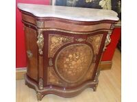 Ormolu French Louis Style Gilt Marquetry Bombe Marble Top Cabinet