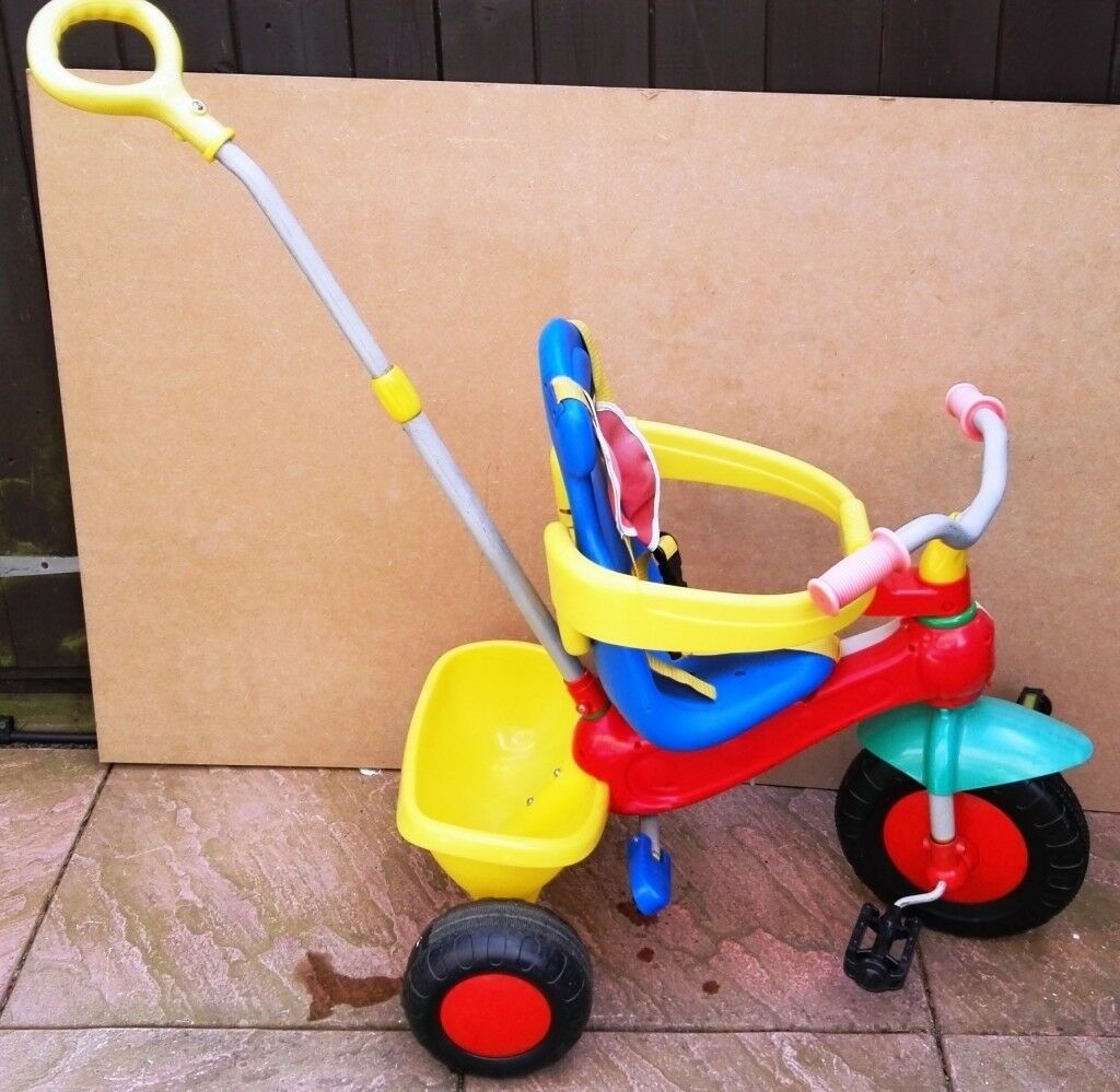 PUSH ALONG CHILD'S YELLOW & BLUE TRIKE WITH SAFETY BAR & 5 POINT HARNESS |  in Portsmouth, Hampshire | Gumtree