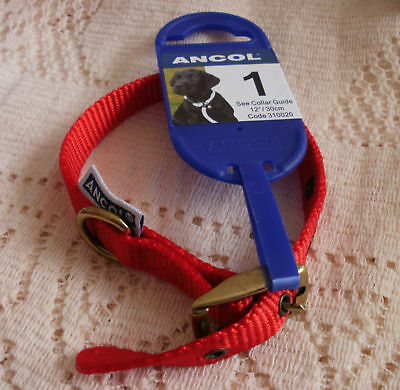 ANCOL HERITAGE DOG COLLAR~RED NYLON &BRASS~12
