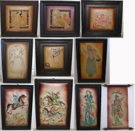 Middle-Eastern paintings on leather