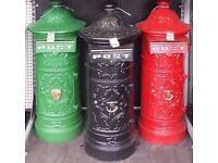 LARGE CAST IRON ROUND POST BOXES