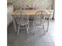 FARMHOUSE KITCHEN DINING TABLE AND 4 CHAIRS