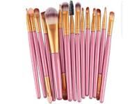 pink and gold 15 piece make up brush set