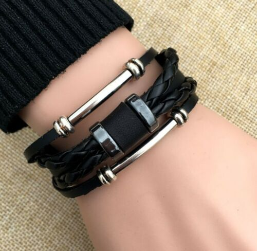 "Fashion Men / Women Vintage Adjust Ethnic Black Leather Wristband Bracelet 6-10"""