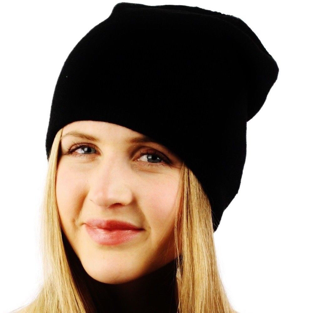 Ladies Black Soft Stretchy 2 Ply Slouchy Long Beanie. One Size Fits All  d10182edca7