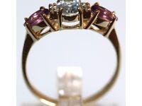 STUNNING 9CT GOLD AQUAMARINE DIAMOND & AMETHYST MEN'S RETRO RING MADE ENG HALLMARKED FREE RESIZING