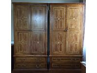 Pair gorgeous matching M&S Malabar Double Wardrobes. Solid Mango wood with inlays.
