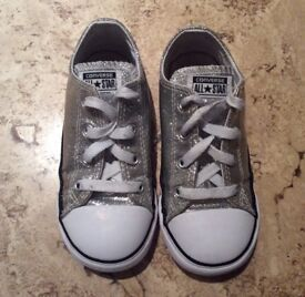 Used Girls Silver converse infants size 10