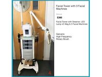 Facial Tower with Steamer, LED Lamp x5 Mag & 3 Facial Machines