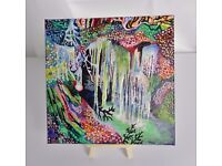 """Original Psychedelic/Surreal Canvas Painting """"She's A Waterfall"""", 8"""" x 8"""""""