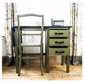 Upcycled Vintage Child's Desk with Cane Seat Chair in Annie Sloan Olive