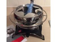 Brand New Novis Stainless Still Electric Fondue Set With Forks
