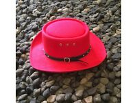 Red Cowboy/girl Line-dancing Western style hat
