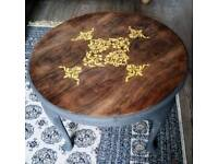 Queen Ann style coffee table with patterns