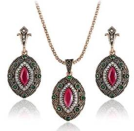 New antique rhinestone turkish jewelry set