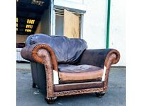 Rare wade additions club chair feather filled cowhide chesterfield cottage style chair DELIVERY