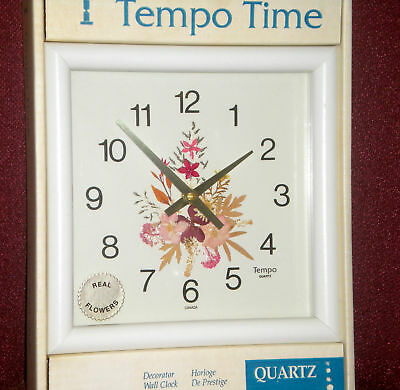 WHITE DECORATOR SQUARE WALL CLOCK WITH REAL FLOWERS White Square Clock