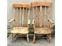 Vintage stripped pine armchairs