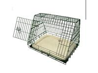 Ellie-Bo Deluxe Sloping Puppy Cage Medium 30 inch Black Folding Dog Crate with Non-Chew Metal Tray
