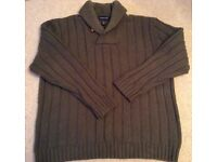 Men's Green Shawl Neck Chunky Jumper from Land's End Size Large