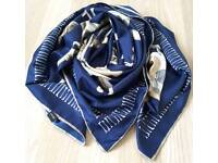 Exclusive silk scarf with skull and skeleton chain blue white colours